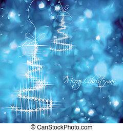 Weihnachtsbaumvektor, blauer Hintergrund