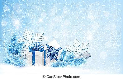 Weihnachtsblauer Hintergrund mit Geschenken und Schneeflocken. Vector