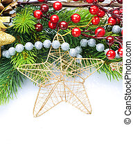 Weihnachtsdekoration, isoliert auf Weiß