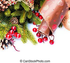 Weihnachtsdekoration Weihnachtsdekoration auf weiß.