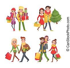 Weihnachtseinkäufe, Weihnachtsvorbereitung im Winter