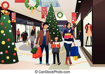 weihnachtseinkauf, asiatische familie, gehen, während, abbildung