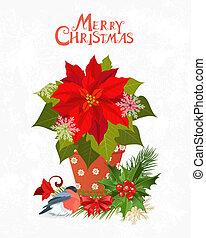 Weihnachtseinladungskarte mit poinsettia in Pot für Ihr Design.