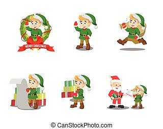 Weihnachtself-Cartoonset.