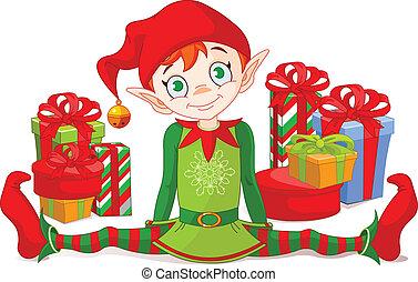 Weihnachtself mit Geschenken