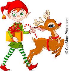 Weihnachtself und Rudolph