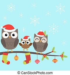 Weihnachtsfamilie der Eulen.