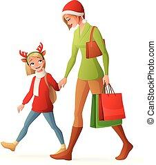 Weihnachtsfamilie einkaufen. Isolierte Vektorgrafik.
