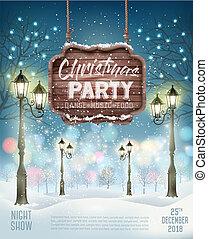 Weihnachtsfeier-Flyer Hintergrund mit Abend Winterlandschaft. Vector