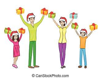 Weihnachtsferien glückliche Familie hebt die Hände hoch halten Geschenkbox.