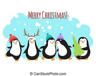 Weihnachtsferien Vektor Gruß Banner oder Hintergrund mit süßen Zeichentrick Pinguine