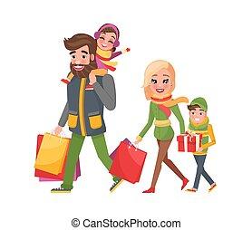 Weihnachtsferieneinkaufen, glückliche Familie zusammen