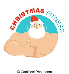 Weihnachtsfitness. Starker Weihnachtsmann. Ferientraining. Handgelenk ist in Ordnung