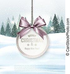 Weihnachtsgeschenk mit Karte und Winterlandschaft. Vector.