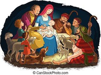 Weihnachtsgeschenk Szene mit der heiligen Familie (Baby Jesus, Maria, Joseph) und Hirten