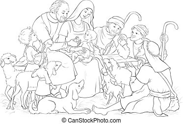 Weihnachtsgeschenk Szene mit heiliger Familie (Baby Jesus, Maria, Joseph) und Hirten Farbseiten