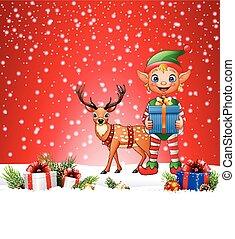 Weihnachtsgeschichte mit Elf und Reh.