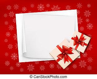 Weihnachtsgeschichte mit Geschenken und rotem Bogen. Vektor Illustration