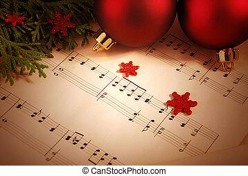 Weihnachtsgeschichte mit Notenblättern