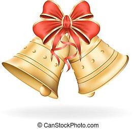 Weihnachtsglocken mit rotem Bogen auf weißem Hintergrund. Xmas Dekoration. Vector Eps10 Illustration