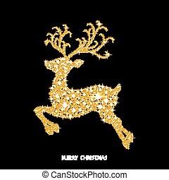 Weihnachtsgold leuchtende Rentiere mit Funken.
