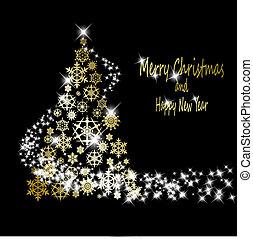 Weihnachtsgoldbaum aus goldenen Schneeflocken mit Sternen auf schwarzem Hintergrund. Vector Eps10 Illustration