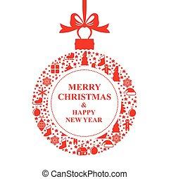 Weihnachtsgrüße, rote Ballkarte.