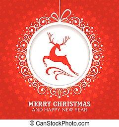 Weihnachtsgrüßkarte mit Hirsch.