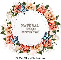 Weihnachtsgrüßkarte mit schönen Rosen und Schmetterlingen. Vector.