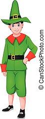 weihnachtshelfer, kostüm, reizend, junge, tragen