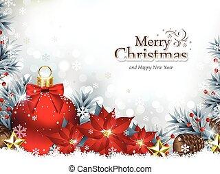 Weihnachtshintergrund mit Weihnachtsschmuck und Poinsettia Blumen.