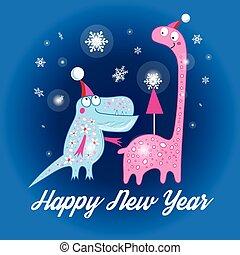 Weihnachtskarte mit Dinosauriern.