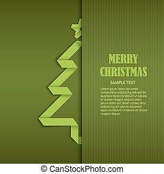 Weihnachtskarte mit gefaltetem, grün gefalteten Baumpapiervorlage.