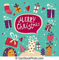 Weihnachtskarte mit Geschenkdosen.