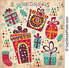 Weihnachtskarte mit Geschenktüten