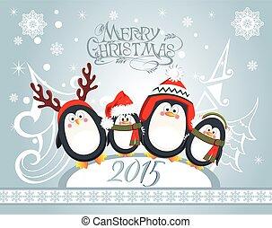 Weihnachtskarte mit süßen Pinguinen.