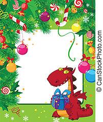 Weihnachtskarte und Drache