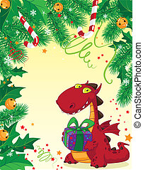 Weihnachtskarte und roter Drache