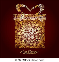 Weihnachtskarten mit Geschenkschachteln aus goldner Schneeflocke auf braunem Hintergrund und einem Wunsch von Frohe Weihnachten und einem frohen Neujahr, Vektor-Illustration