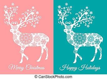 Weihnachtskarten mit Hirsch, Vektor.