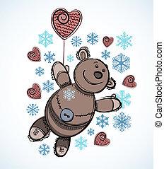 Weihnachtskartendesign. Teddy-Spielzeug mit Schneeflocken