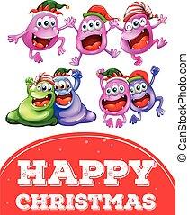 Weihnachtskartenvorlage mit glücklichen Monstern.