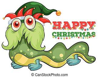 Weihnachtskartenvorlage mit grünem Monster.