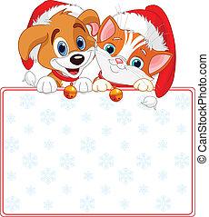 Weihnachtskatze und Hundezeichen