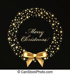 Weihnachtskranz aus goldenen Lichtern.