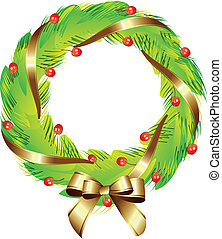 Weihnachtskranz mit goldenem Band