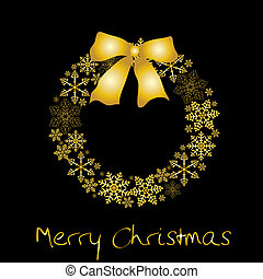 Weihnachtskranz mit goldenem Bogen
