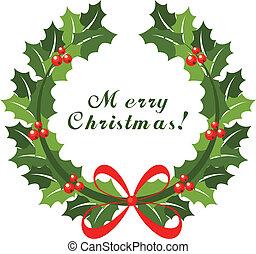 Weihnachtskranz mit rotem Bogen