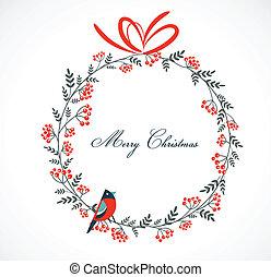Weihnachtskranz mit Vögeln und Ashberry.