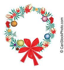 Weihnachtskranz mit Weihnachtsschmuck und rotem Bogen.